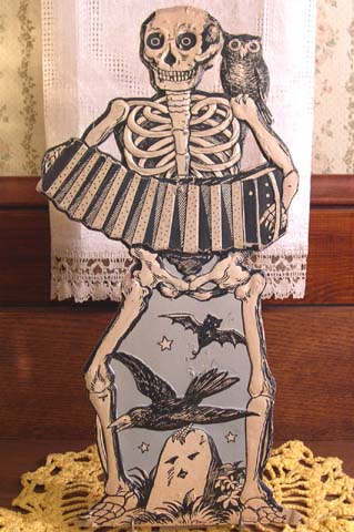 EXCEEDINGLY RARE Vintage Halloween Skeleton Accordion Band Member Diecut Germany Authentic Inner Sanctum