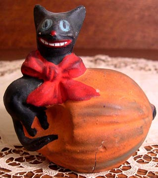 Early Rare Vintage Hallowe'en Cat & Pumpkin Composition Candy Container, Germany, Ca. 1910, Original Paint, Hard-to-Find Old Decoration: $350.00