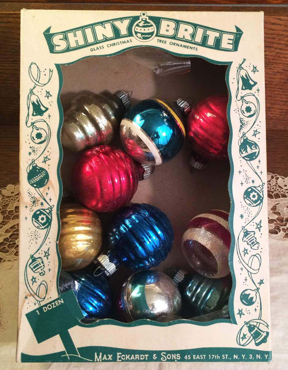 Vintage Mid-Century Shiny Brite Glass Christmas Ornaments with Box