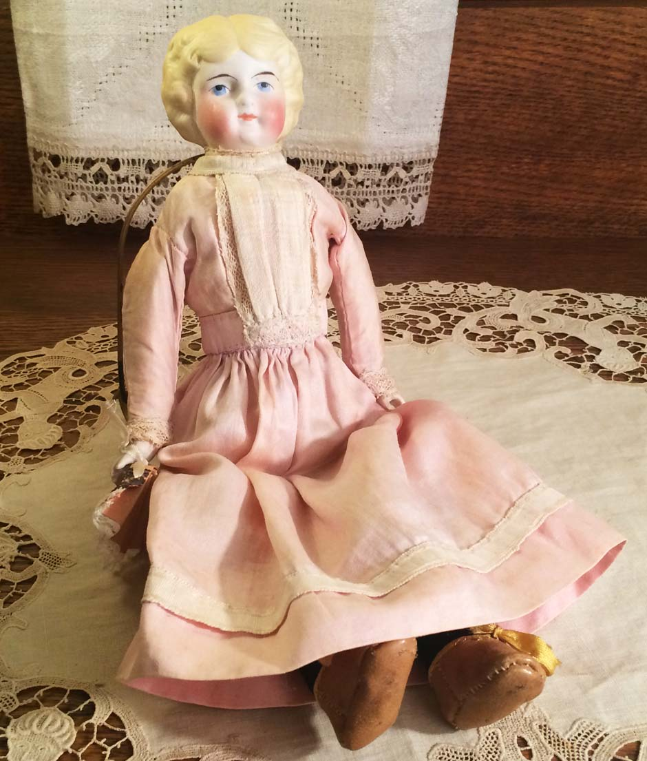 Small Antique Bisque Parian Head Doll with Molded Hair & Leather Boots, ca. 1900, Repaired