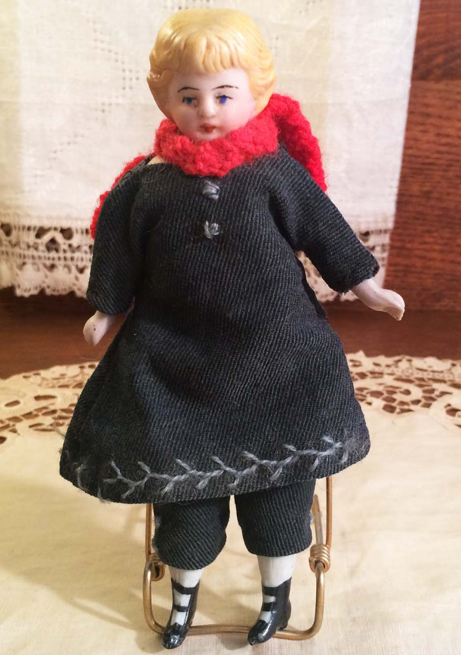 Adorable Small Antique Bisque Head Doll with Molded Hair in Lovely Original Winter Clothing, ca. 1900