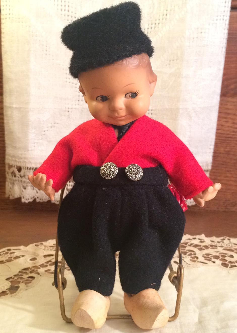 Adorable & All-Original Vintage Little Boy Doll from The Netherlands, Wearing Wooden Shoes,1940s-50s