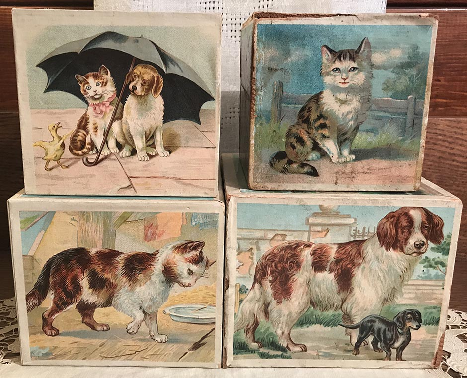 4 Authentic Antique Children's Victorian Toy Blocks with Lithographed Illustrations of Dogs, Cats and Farm Animals, Dated 1901, Great with Dolls