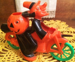 Vintage Halloween Hard Plastic Witch On Motorcycle, Tico Toys/Rosbro Early 1950s: $365.00